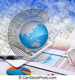 Financial and business charts and graphs - Business collage...