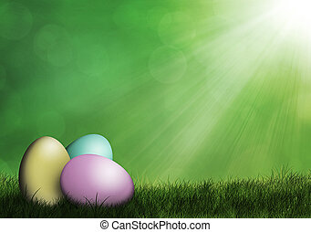 Easter eggs in the grass - Easter eggs laying on grass with...