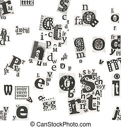 Abstract newspaper's art letters - Newspaper's letters on...