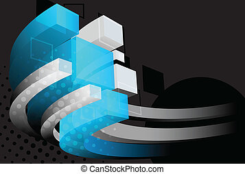Dark background with 3d element and circle