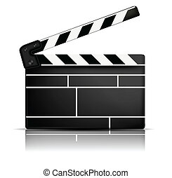 Movie clapper - White background with one black movie...