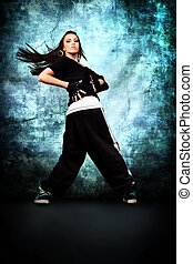 vigorous - Modern teenage girl dancing hip-hop at studio