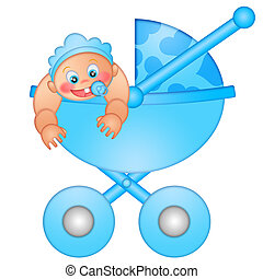 Baby Boy in Stroller Isolated on White Background...