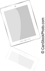 White abstract tablet pc on white background - White...