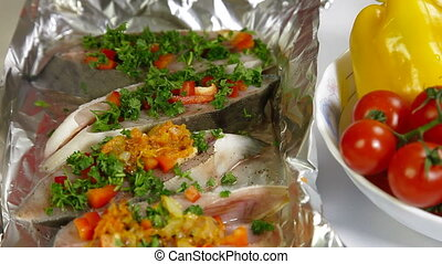 Cooking Baked Fish - Add Fried Vegetables