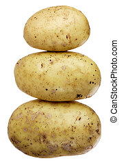 A stock of three potatoes in a shape of a snowman