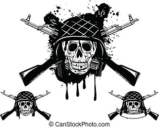 skull in helmet automatic - Vector image of skull in an army...