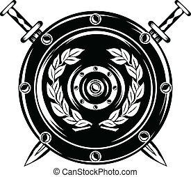 shield and crossed swords - vector image of shield and...