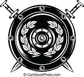 escudo, cruzado, espadas