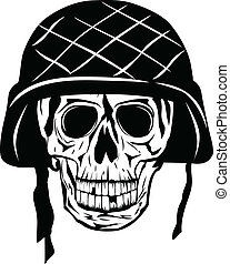 skull in halmet - Vector image of skull in an army helmet