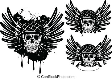 skull in helmet and wings - Vector image of skull in an army...