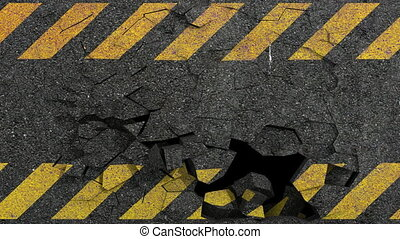 asphalt crack hazard - breaking asphalt hazard