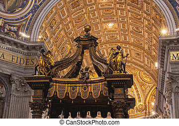 Top of St. Peters' Baldachin - The dome of St. Peter's...
