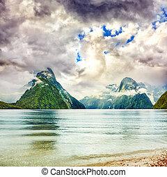 Milford sound. New Zealand fiordland