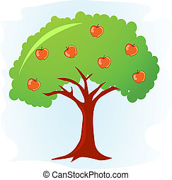 apple tree with ripe red apples vector illustration