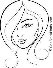 beauty face girl portrait - beauty vector face girl portrait...