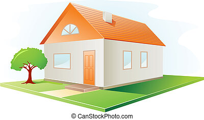 vector house - House icon with red roof and garden vector...