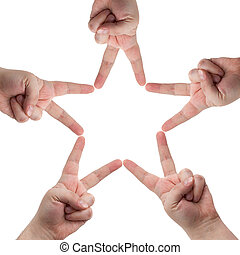 mãos, forma, estrela