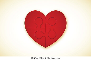 Heart Puzzle - 4 Piece Jigsaw Puzzle With Heart (each piece...