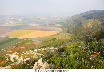 Picturesque valley in the Israeli Galilee A spring landscape...