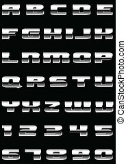 tolst m - Vector letters and figures with effect of metal