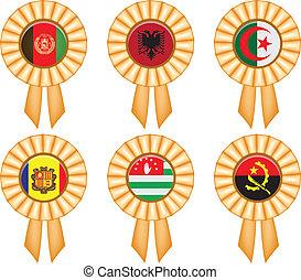 Award ribbons with national flags - A set of award ribbons...