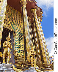 Guards of the temple Wat Phra Kaew in the Grand Palace in...