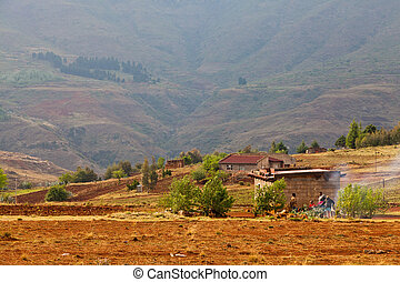 Small village in the mountains of Africa - Small village in...