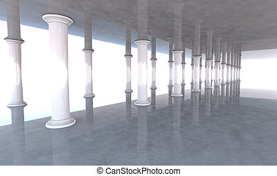 Classical colonnade with arcades and columns