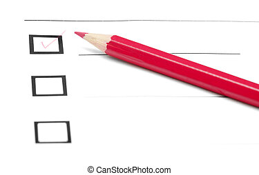 Make choice - Red pencil on a inquiry form with checkboxes