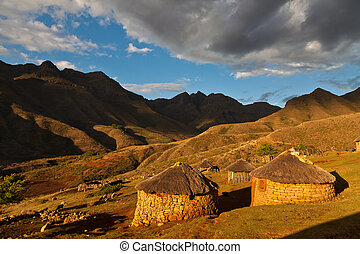 Village in a valley in beautiful light