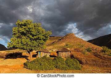 Houses in the mountains  in beautiful light