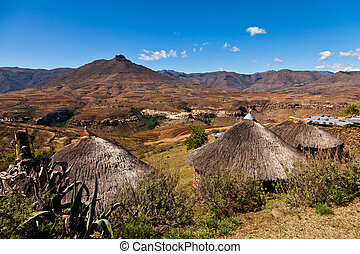 Mountain village iin Africa on a sunny day