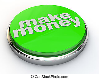 green make money button with chrome over white Background