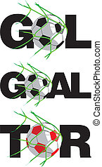 goal - in german, english etc. - shot on goal, team sport,