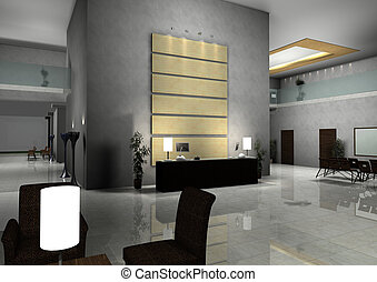 modern design interior of hall,corridor3d rendered