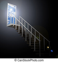 Ladder leading up to the sky from darkness