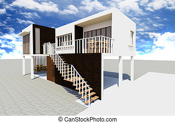 3d Modern house rendered