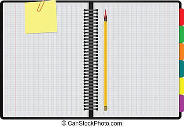 Black Notebook open on white backg