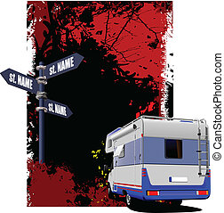 Cover for brochure with camper van and junction image Vector...