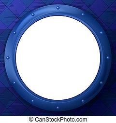 Frame porthole on blue background