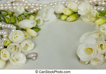 white freesias wedding frame - white freesias with pearls...