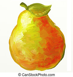 yellow pear - Big yellow pear isolated on a white...