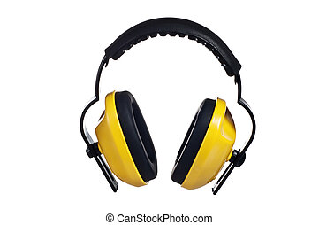 Yellow working protective headphones, it is isolated on white