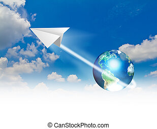 Paper planes in blue sky with earth