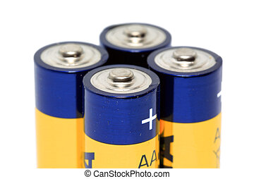 batteries AA on white background