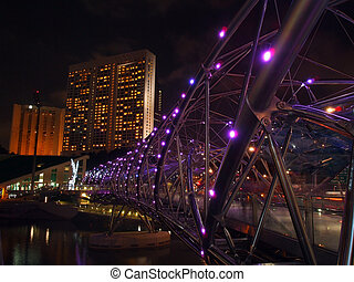 The Helix Bridge - SINGAPORE - MAY 04: The Helix Bridge on...