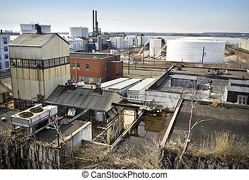 Industrial NJ - Old factories and oil tanks are part of the...