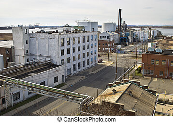 Old Bayonne, NJ - A view along the old industrial section of...