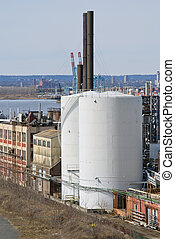 Tanks New Jersey - Large storage tanks and old factories in...